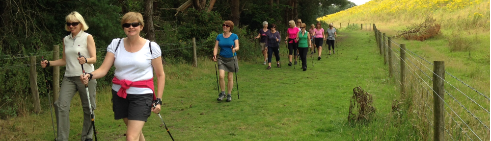 Nordic walkers Cheshire woodlands